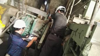 安徽捷越振动频谱分析仪在PRV115*100辊压机上应用